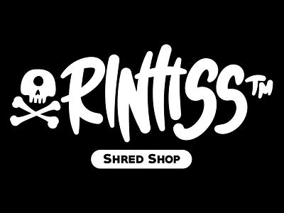 Rlntlss™ Shred Shop Branding typography minimal mascot design illustrator illustration vector skull and crossbones branding identity logo onewheel