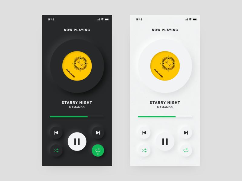 Neumorphism UI music app ui trend 2020 icon design music player ui mobile ui neumorphism