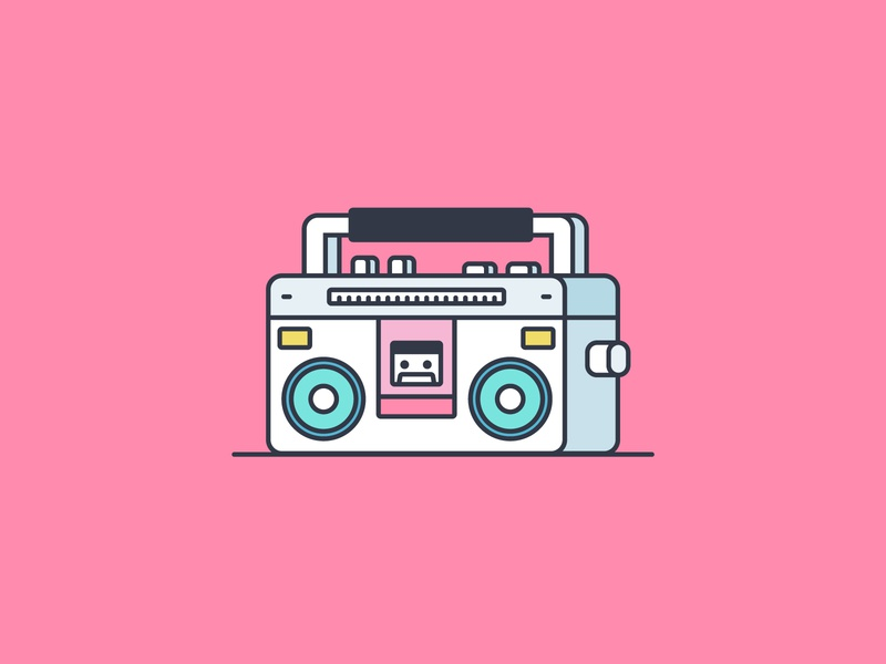 Cassette Player illustration music icon speaker radio cd player cassette player