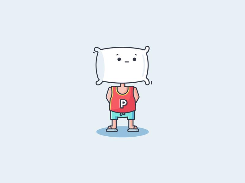 Pillowman Thought thinking icon pillow mascot design flat icon character design illustration hero superman