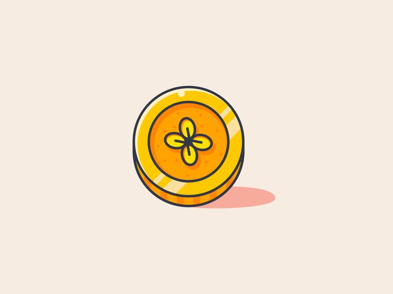 Lucky Coin token clover coin icon flat icon illustration lucky icon