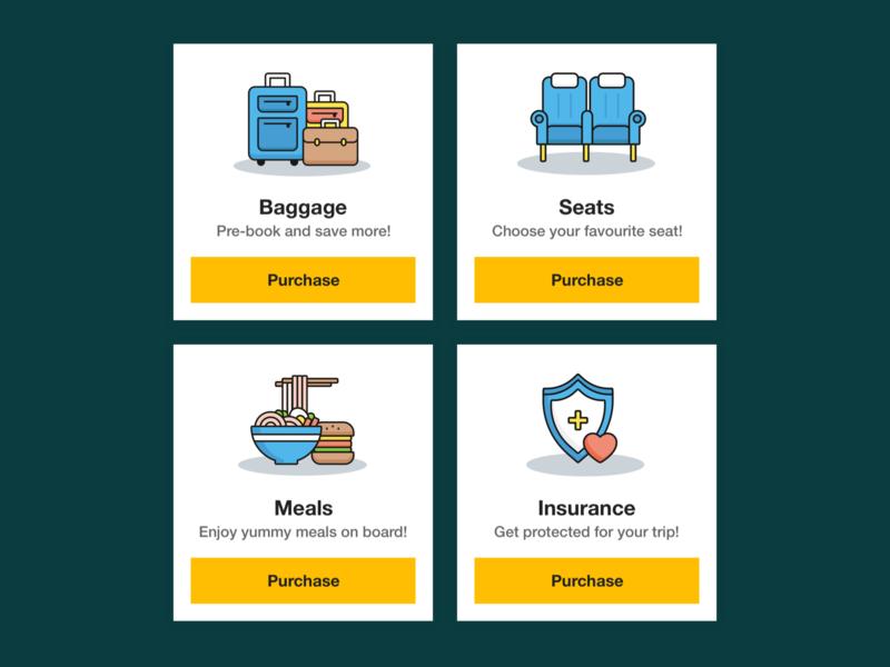 Flight Add-ons UI card ui flight web ui web ui insurance icon meals icon seats icon baggage icon add ons ui flight ui