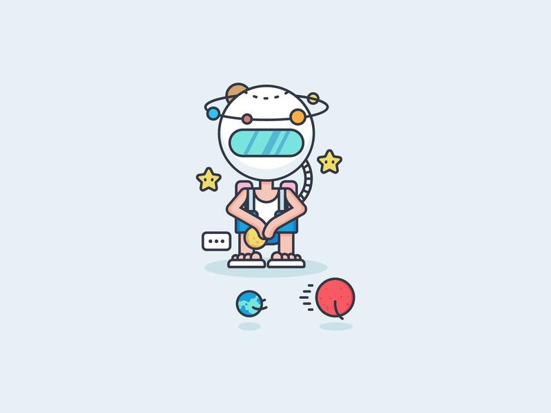 Astronaut Wannabe flat illustration character design planet icon mars sun icon globe icon star icon astronaut icon