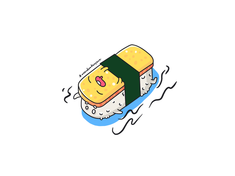 Tamago Sushi sushi logo avatar tamago sushi character design flat illustration illustration