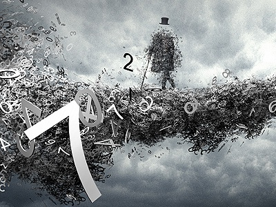 Numbers man  photomanipulation poster 3d photo retouch