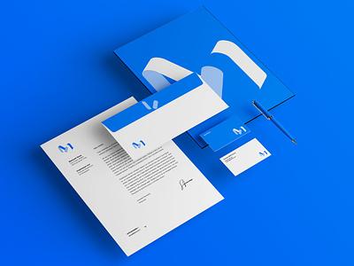 M unused proposal illustration typography brand logo