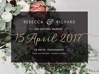 Wedding Invite natural colors wedding invite roses protea natural pastel elegant overlay fynbos floral