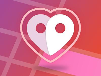 Love Finder Logo flirt date heart pink finder app logo love