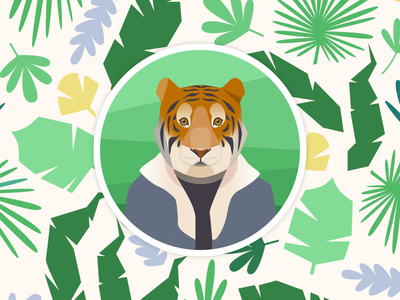 A tiger and his profile pic design digital pic jacket green illustration jungle avatar picture profile vector tiger