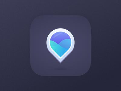 Water App Icon concept digital design application purple blue app apple ios geolocate location water