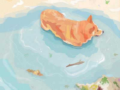 Yugi in his element yugi blissfully beach corgi colorful dog sketch vector-illustration digital design vector illustration