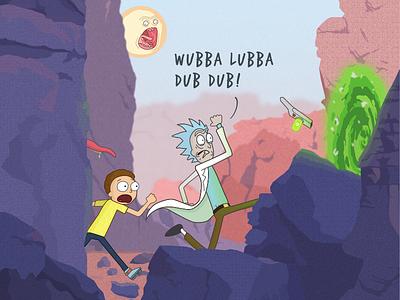 Rick & Morty Adventure Poster adventure fan-art digital design vector morty rick illustration rick-and-morty