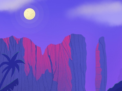 Canyon in the Moonlight illustration plants clouds procreateapp ipad neon rocks mountain mysterious yellow pink blue night moon moonlight canyon