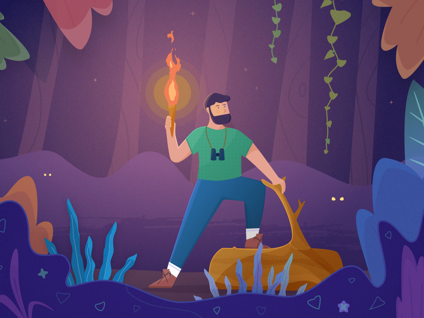 Adventuring in the Forest beard log stump eyes vector illustration night binoculars forests trees woods explore colorful flame plants jungle man fire advenure forest