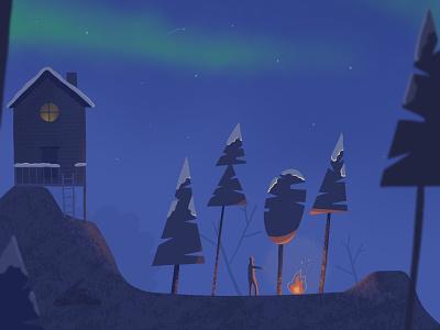 A frosty, winter adventure adventure mountain cabin stars digital aurora campfire camp night ipad vector forests illustration