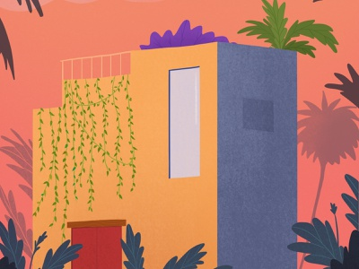 A Moroccan Dream vector illustration travel warm digital design colorful vector sunsets vines jungle plants sunset golden hour morocco illustration