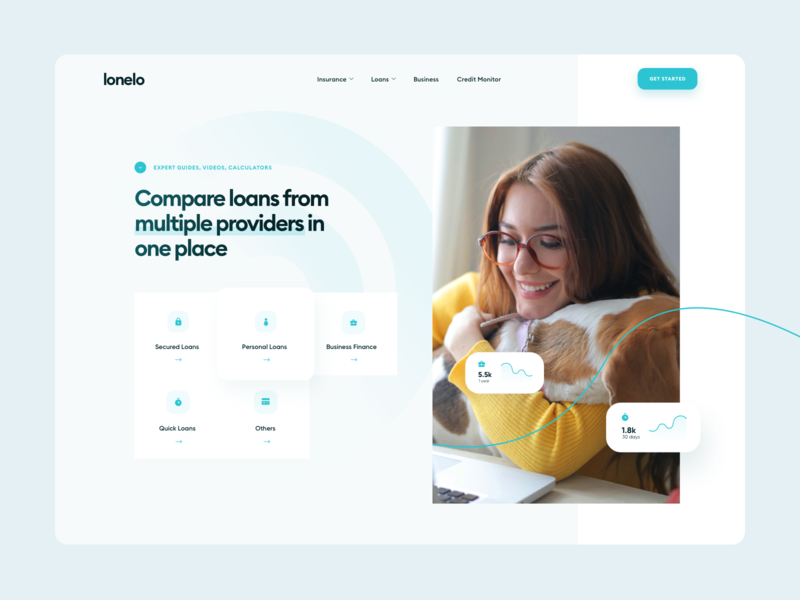 Lonelo - Compare Loans Webdesign landing pastel green banking web design compare icons fintech finance insurance loan website blue design ui webdesign