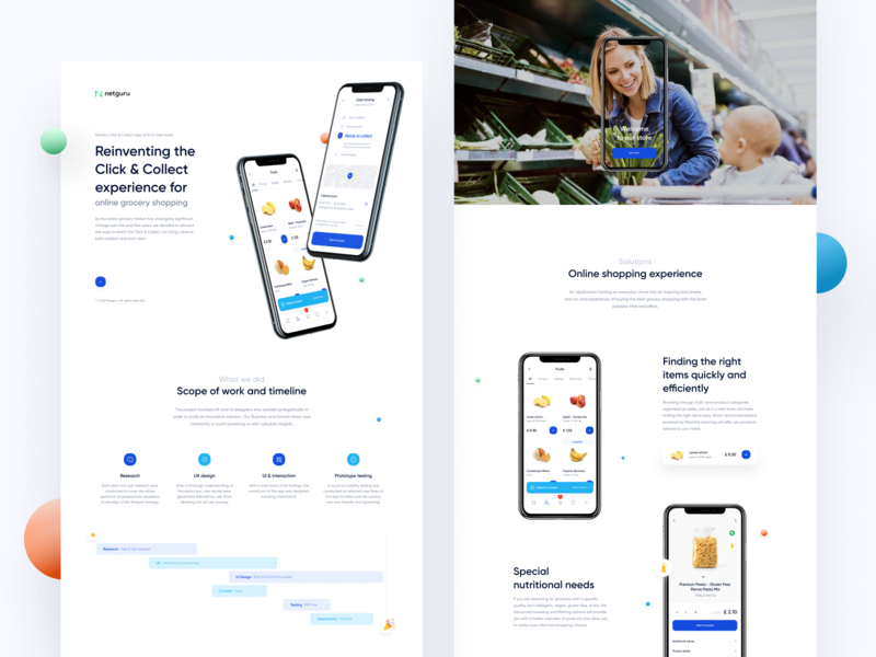 Click & Collect - Reinventing online grocery shopping experience timeline tracking locker vehicles robots ar grocery food ecommerce clickcollect shop ui icon blue webdesign