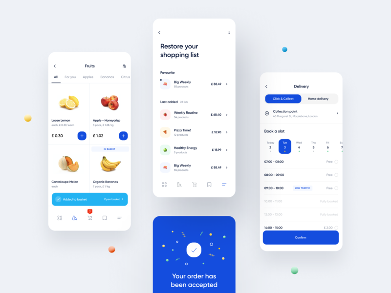 Click & Collect - Reinventing Online Grocery Shopping Experience map ecommerce recipe blue application mobile store order calendar emoji list food navigation tracking