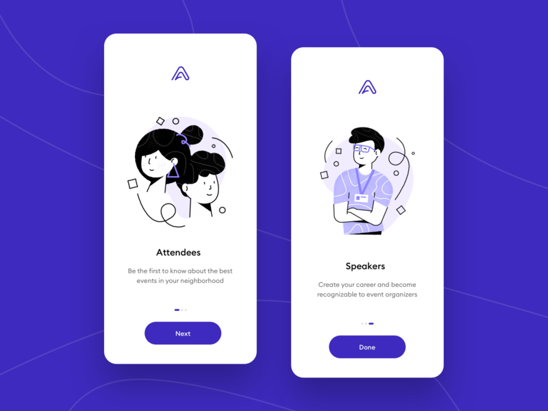 Appreciation App - Onboarding Screens faces couple pattern launch startup walkthroughs onboarding organiser event speaker app kudos appreciation purple illustration