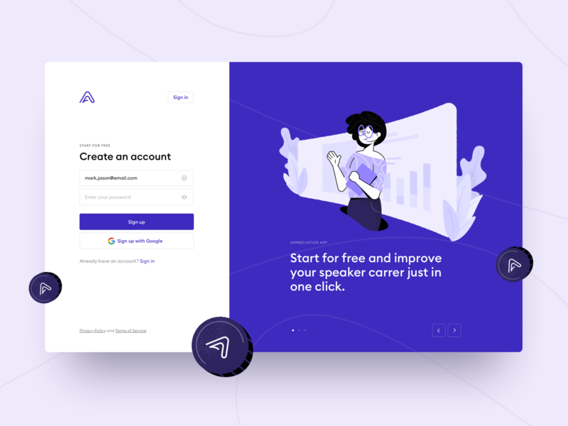 Appreciation Platform Sign Up create registration speaker accounts onboarding system login sign in sign up purple webdesign illustration platform