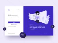 Appreciation Platform Sign Up create registration speaker accounts onboarding system login sign in sign up purple webdesign illustration platform