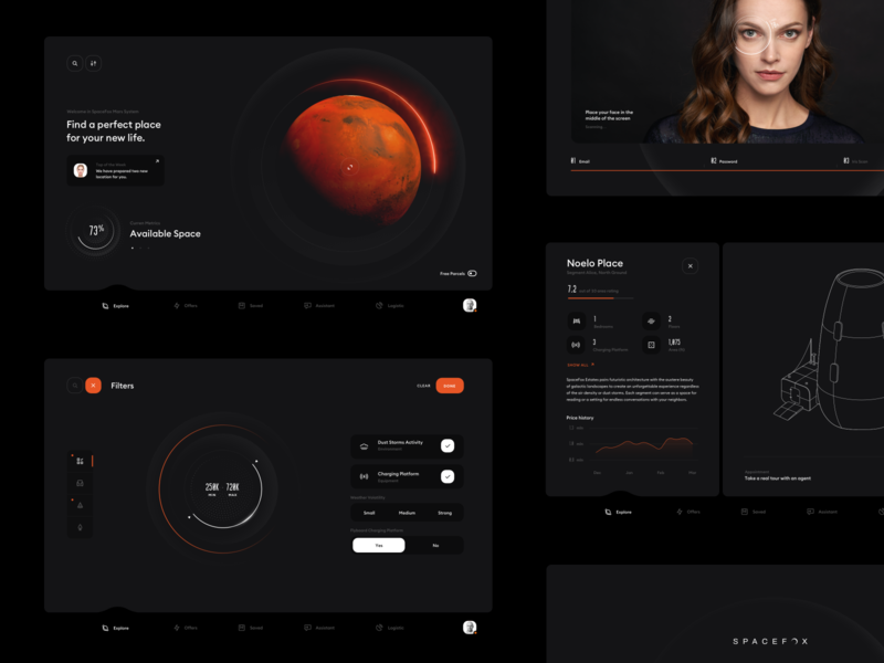 SpaceFox - Dashboards future futuristic ui chart diagram profile settings login scan illustration orange black dark space webdesign dashboard