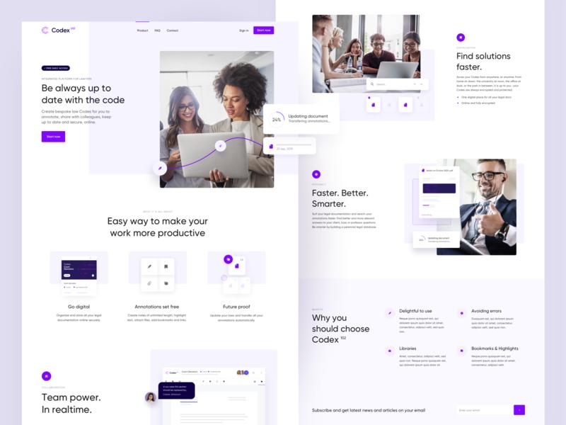 Codex102 - Landing Page team illustrations illustration digital documents simple product violet onepage lawyer collaboration platform purple webdesign landing page landing