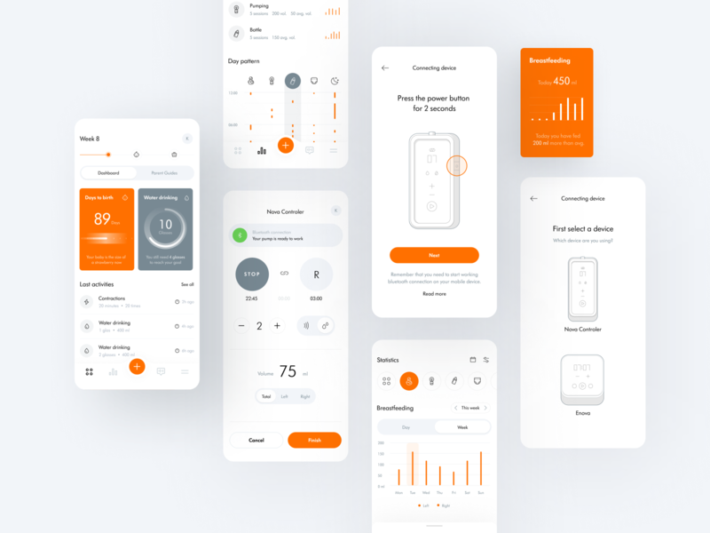 The Baby Tracker Mobile App tracker fitness app schedule planner dashboard fit health activity feeding setup onboarding device illustration diagram analysis chart tracking birthday orange app
