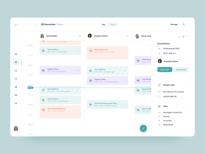 Veterinary Clinic Calendar timeline time management plan schedule date veterinary system dashboard platform stats green sidebar calendar app financial uiux ux