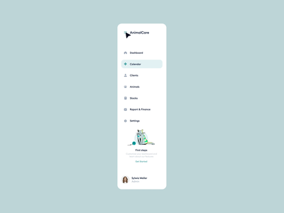 Sidebar Navigation - Tooltip Exploration illustration webdesign netguru cat explainer animation side menu hover modal tooltip financial app green platform dashboard system expandable scalable sidebar