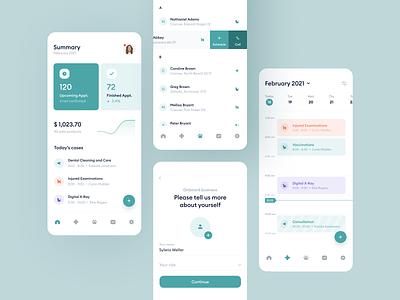 Veterinary Clinic Mobile App onboarding diagram pet animal android ux financial platform list timeline calendar chart uxui mobile aplication app management dashboard