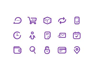 Store Icon Set  basket box profil pin lock calendar mobile shadow line psd icon shop
