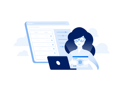 System Login Illustration character cloud software device computer it woman login team blue illustration