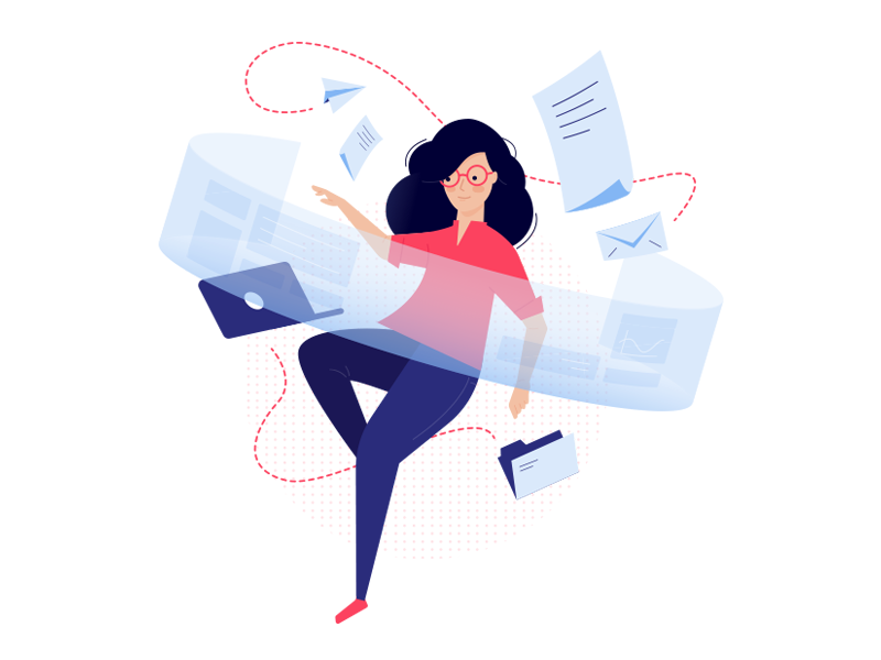 Virtual Data Center Illustration fly office pietrasiak case study contact illustration it software woman computer character team virtual vr people