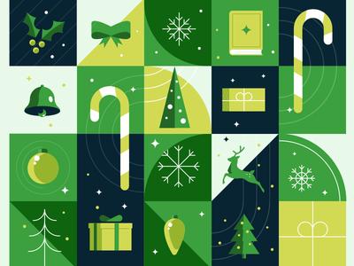 Christmas Illustration snow candy box illustration green christmas santa claus reindeer christmas tree christmas ornament