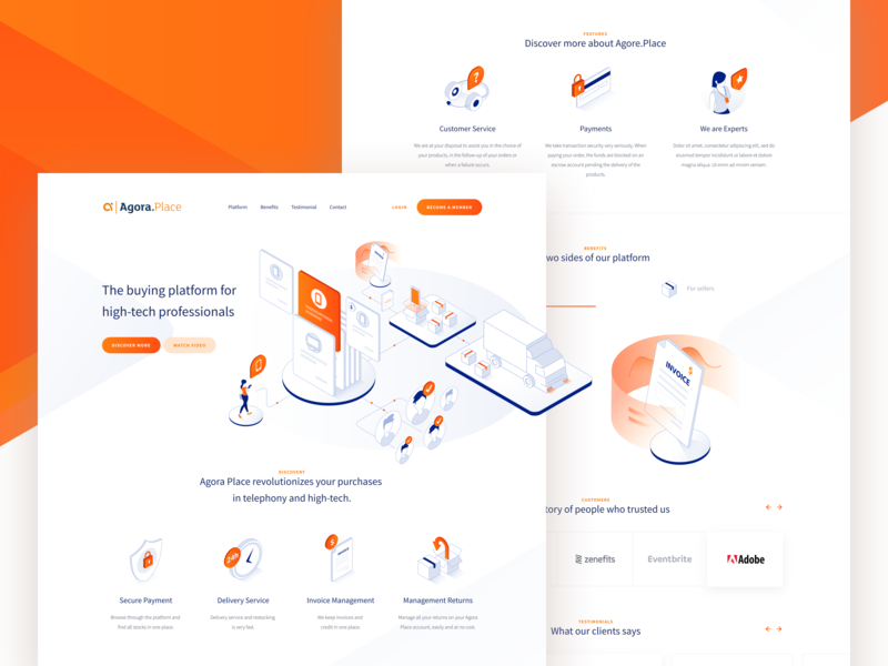 Agora Place - Landing Page blue platform character mobile blockchain shop b2b contact orange homepage website landing page isometric icon ui webdesign illustration