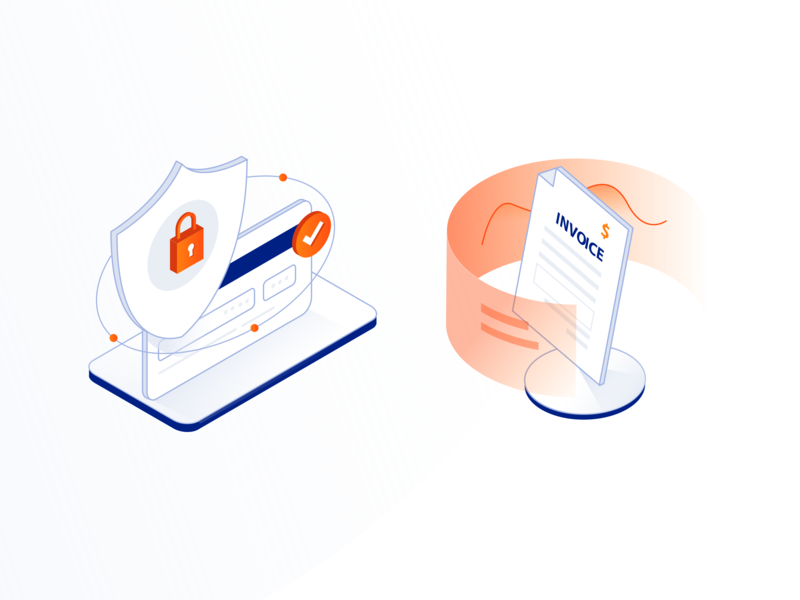 Agora Place - Isometric Illustrations icon shopping data lock contact invoice card payment shield shop orange blue isometric illustration