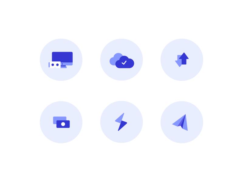 Limicon Icon Set imac vr 3d cash pay money send transfer upload cloud computer illustration blue purple icon set icon
