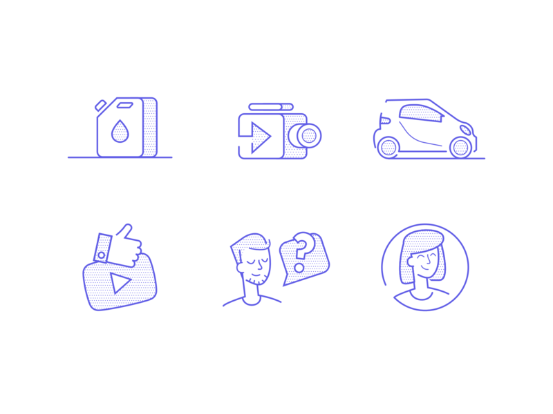 Automotive - Social Media Icon Set webdesign illustration woman camera youtube person car dots purple infographic social icon