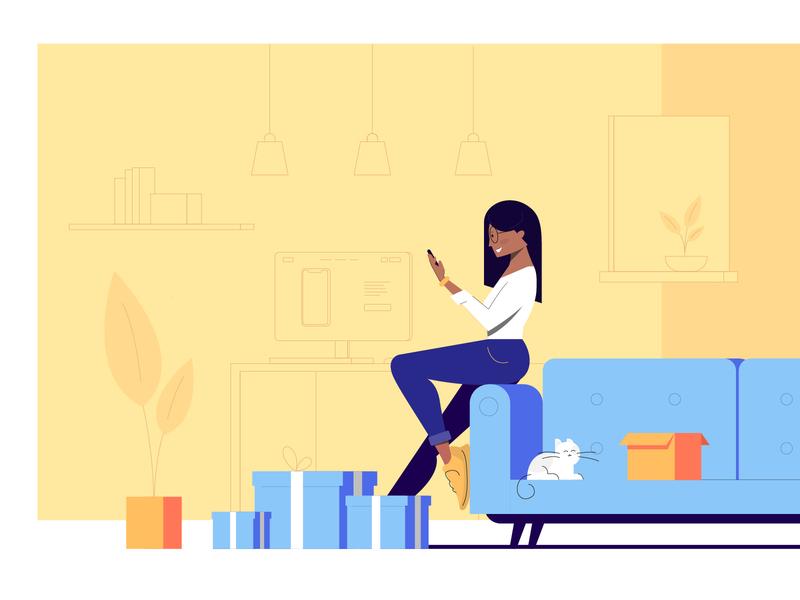 Illustration - Ordering illustrator office pietrasiak flower smartphone order shop purple blue yellow room cat box computer character woman illustration