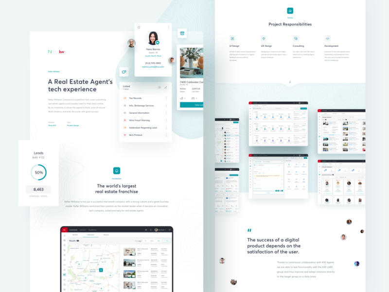 Keller Williams: World's largest Real Estate franchise case study profil houses mobile interaction animation blue design system dashboard real estate keller williams netguru design ux ui