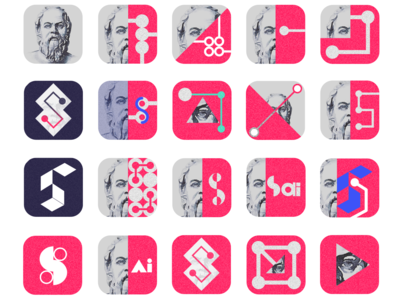 Socrates.AI: App Icons tech web app ui icon typography vector logo illustration design branding ux