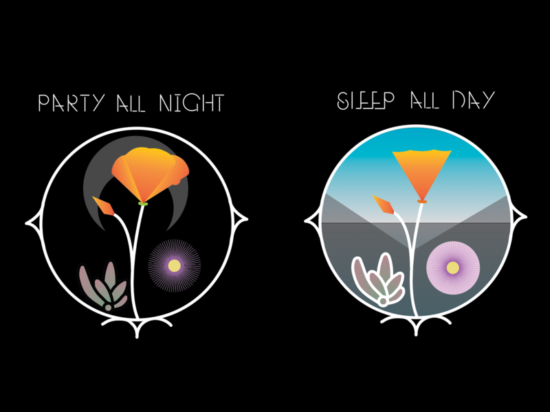 Party All Night / Sleep All Day logo design vector illustration