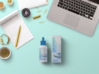 Free Dropper Bottle With Box Mockup PSD Template