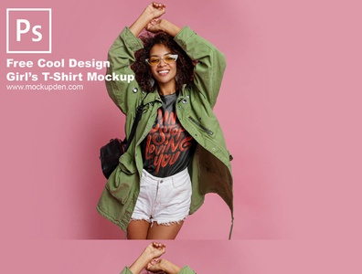 Free Cool Design Girl's T-Shirt Mockup PSD Template mock up