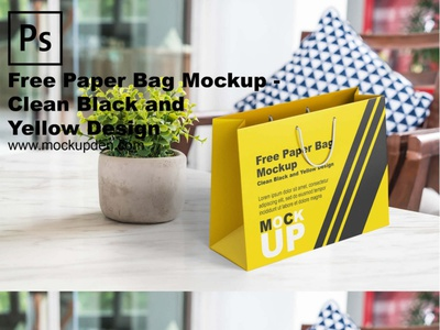 Free Paper Bag Mockup – Clean Black and Yellow Design
