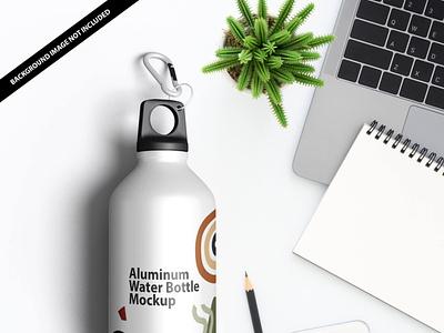 Free Aluminum Water Bottle Mockup PSD Template