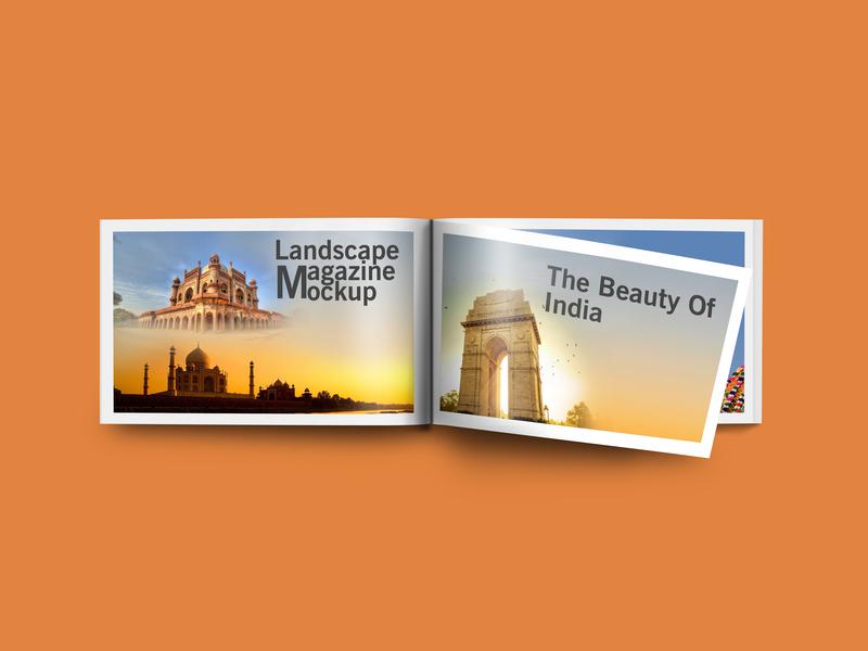 Free Landscape Magazine Mockup PSD Template magazine landscape landscape magazine mockup landscape magazine