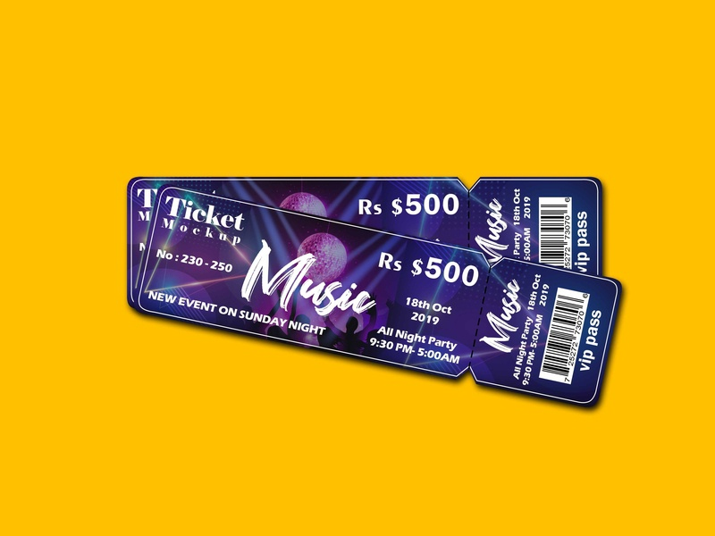 Free Music Event Ticket Mockup | PSD Template ticket music music event music ticket